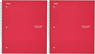"Five Star Spiral Notebook, 1 Subject, College Ruled Paper, 100 Sheets, 11"" x 8-1/2"", Red (72053) 2 Pack"