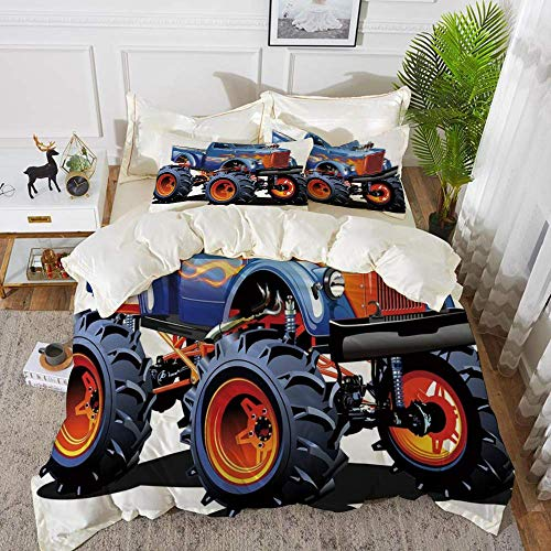 ropa de cama - Juego de funda nórdica, decoración de cueva de hombre, dibujos animados Monster Truck Neumáticos enormes Off road Heavy Large Tractor Wheels Tur, Funda de edredón de microfibra hipoaler