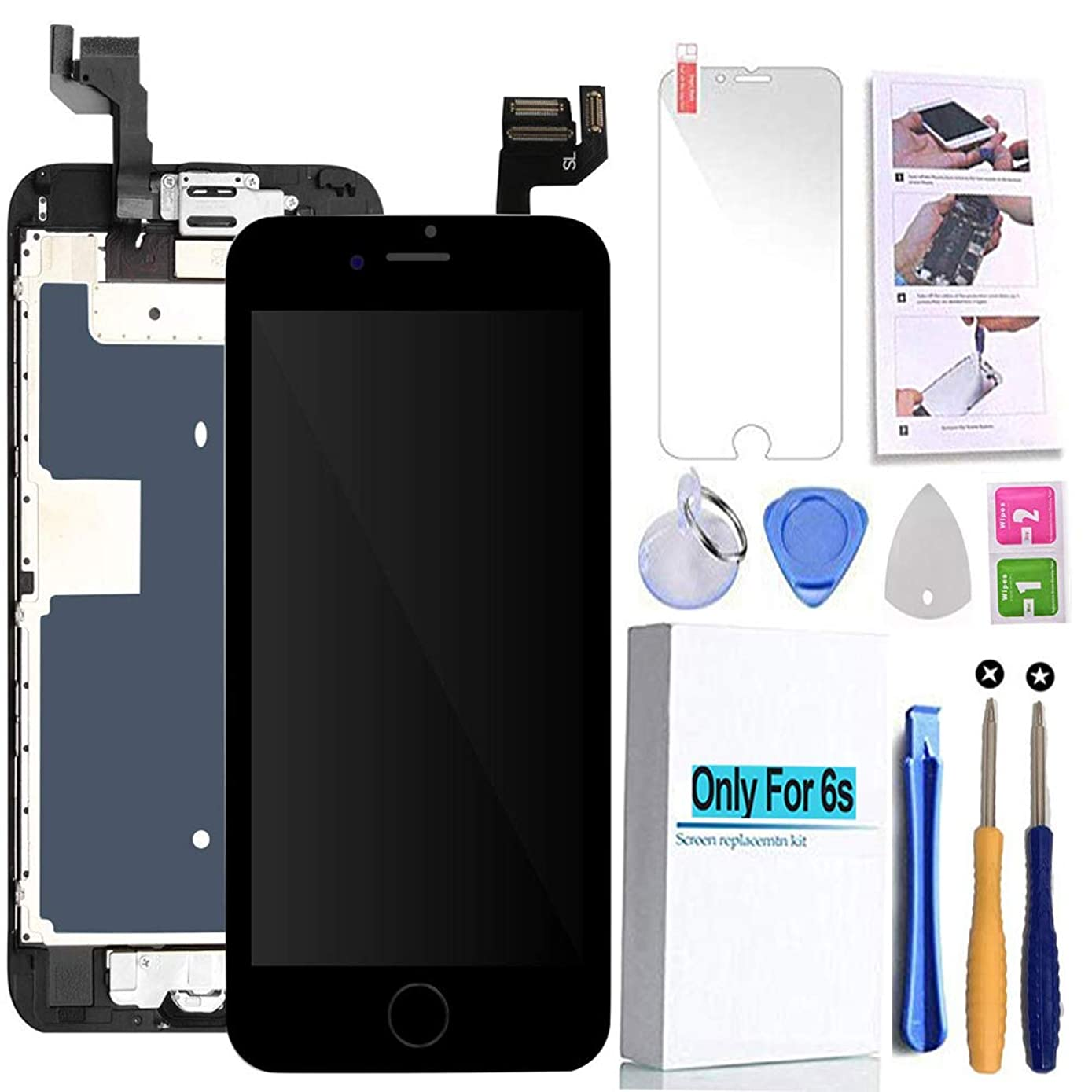 Screen Replacement Compatible iPhone 6s Black 4.7(inch) LCD Display Touch Digitizer Assembly Repair Kit & Home Button,Ear Speaker, Front Camera,Proximity Sensor, Repair Tools