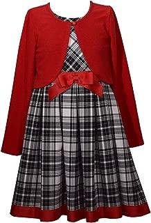 Bonnie Jean 假日格子连衣裙带红色毛衣开衫,适合婴儿、幼儿、小女孩和大女孩
