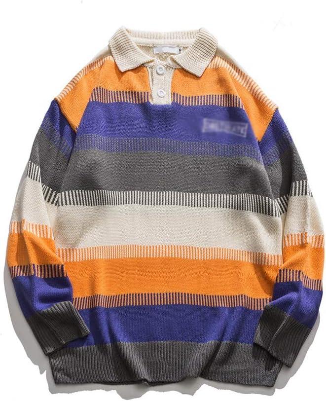 ECSWP DJMYNVKD Big Stripe Color Block Oversized Men's Sweater Style Loose Sweaters Man Front Button Pullover Sweaters Man (Color : Orange, Size : L-length-72CM)
