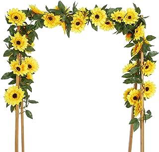 BEFINR 4 Pack 7.2FT Artificial Sunflower Vine Hanging Sunflower Garland Silk Flowers with Garden Craft Art Party Home Wedding Decor