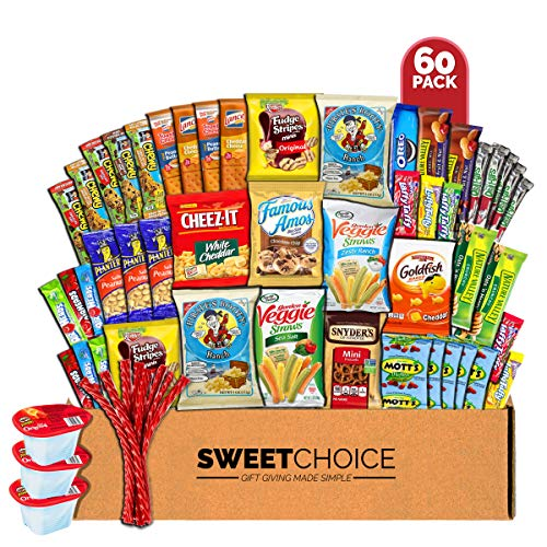 Sweet Choice Care Package (60 Count) Snacks Cookies Bars Chips Candy Ultimate Variety Gift Box Pack Assortment Basket Bundle Mixed Bulk Sampler Treats College Students Office Final Exams Christmas