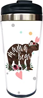 Waldeal Mama Bear Travel Coffee Mug with Flip Lid, Stainless Steel Tumbler Cup Water Bottle 15 OZ, Mother's Day Birthday Mug for Mom Wife Women