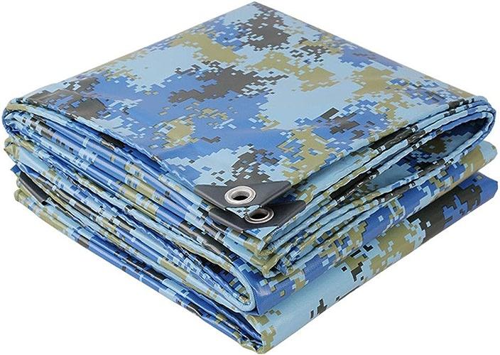Feuille de piège à usage moyen for bache Camouflage Ocean for jardin et pique-nique, prougeection contre la pluie et le soleil haute densité multifonctions avec oeillet en métal (Taille   6x7m)