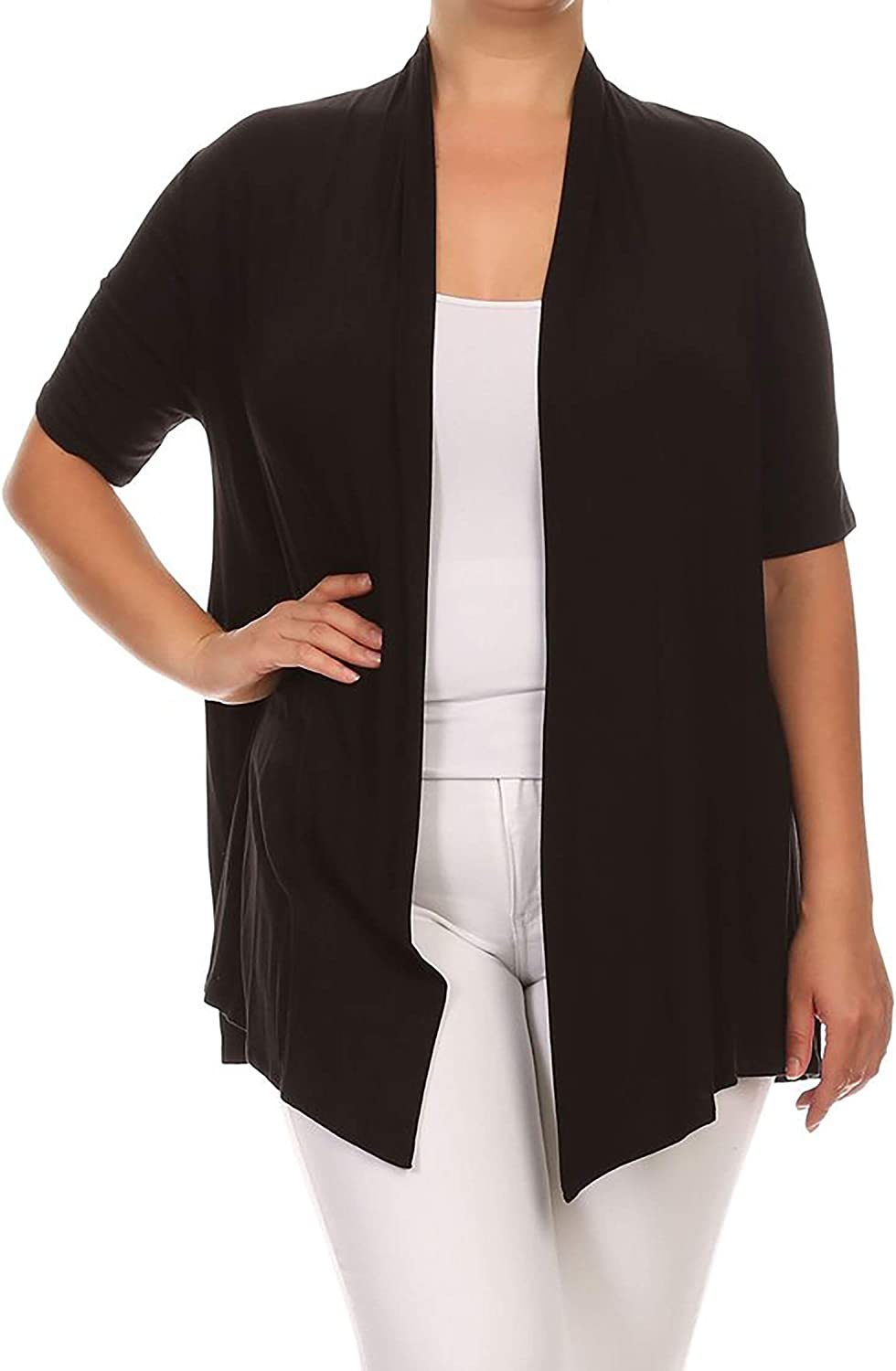 Women's Plus Size Solid Print Casual Short Sleeve Draped Open Front Cardigan/Made in USA
