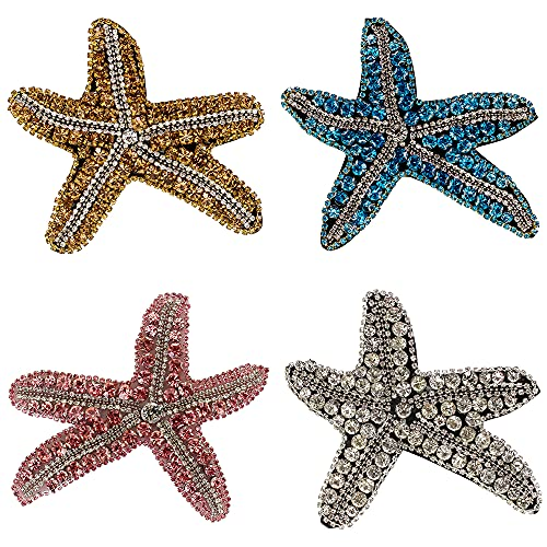 DIY Fashion Sea Star Rhinestone Beaded Patches for Clothes Sew on Sequins Applique Decorative parches 4piece