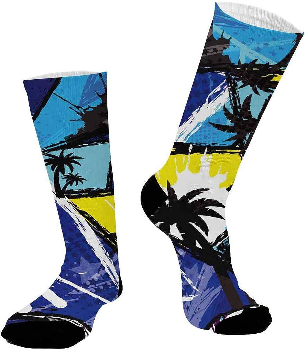 INTERESTPRINT Unisex Sublimated Crew Socks Athletic Running Socks Abstract Geometric Elements, Palm