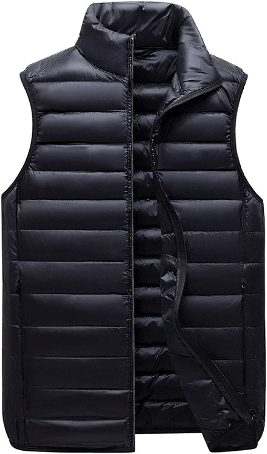 Mens Full Zip Puffer Vest Polyester Stand Collar Side Pockets Waistcoat Outdoor Sports Sleeveless Jackets Gilet