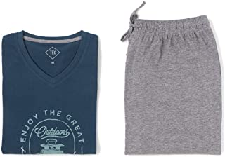 TEX - Pijama Largo para Hombre, 2 Piezas, Estampado, Cuello Pico