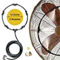 Meikelion Outdoor Misting Fan Kit Mist Cooling System Fan Kit for a Cool Patio Breeze 23FT (7M) Misting Line + 5 Copper Metal Mist Nozzles + a Copper Metal Connector(3/4'') Fit to Any Outdoor Fan