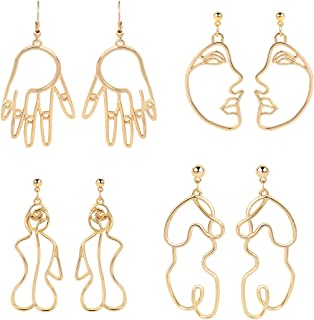 Abstract Beauty Girl Face Emoji Clip on Earrings with Crystal January Birthstone Drop