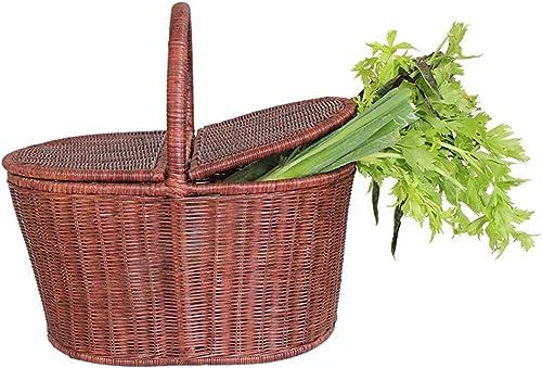 Panier de pique-nique - Panier de rangement des aliments tissé en bambou et rougein avec couvercle Panier à provisions pour panier portable adapté au camping en plein air (2 tailles, 2 couleurs)