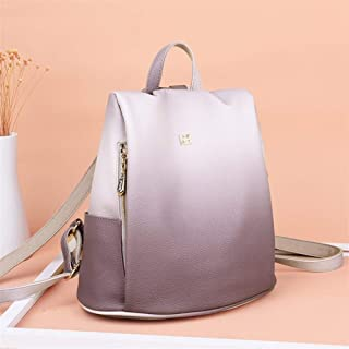 SP-Xhz New Soft Leather Female Backpack Korean Travel Bag Wild Leisure Simple College Wind (Color : Purple)
