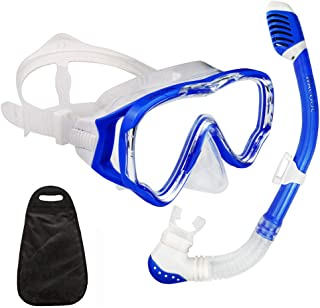 WACOOL Snorkeling Snorkel Package Set for Kids Youth Junior, Anti-Fog Coated Glass Diving Mask, Snorkel with Silicon Mouth Piece,Purge Valve and Anti-Splash Guard.