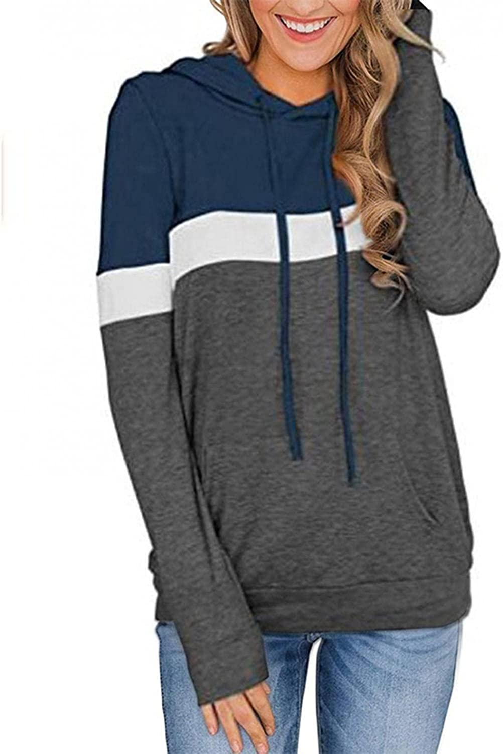 quality assurance Women's Casual Color Block Hoodies Tops High material Comfy T Sleeve Shir Long