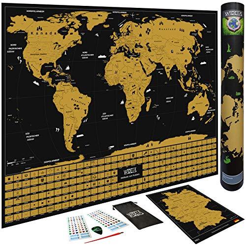 WIDETA Weltkarte zum Rubbeln in Deutsch mit Länderflaggen/Poster XL (60 x 42 cm), Bonus Deutschlandkarte, Rubbelwerkzeuge, 3D Aufkleber und Geschenkverpackung