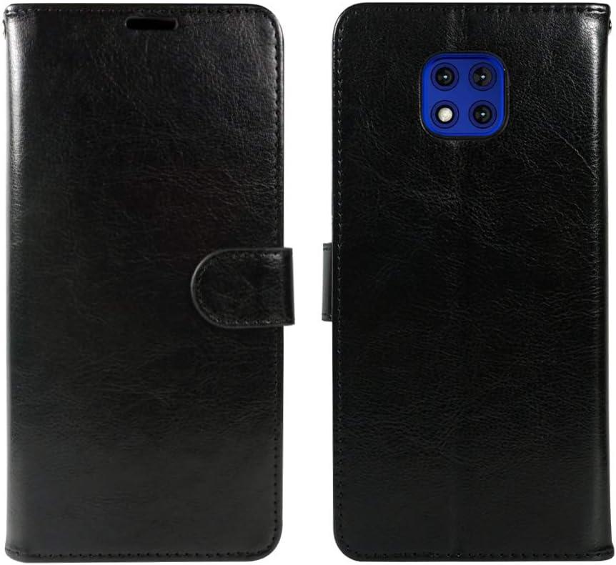 ZASE Moto G POWER 2021 Wallet Phone Case Professional Pouch Slim Folio PU Leather Flip Cover Magnetic Closure w/Kickstand ID Card Pocket Wrist Strap for Motorola G Power (2021) 6.6-inch (Luxury Black)