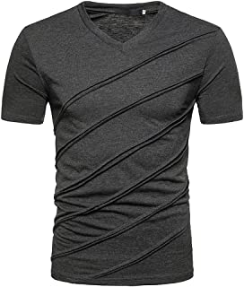 Solid Color Tee for Men, Workout Striped Slim Fit T-Shirts Summer Moisture Wicking Stylish Short Sleeve V-Neck Tops by Leegor