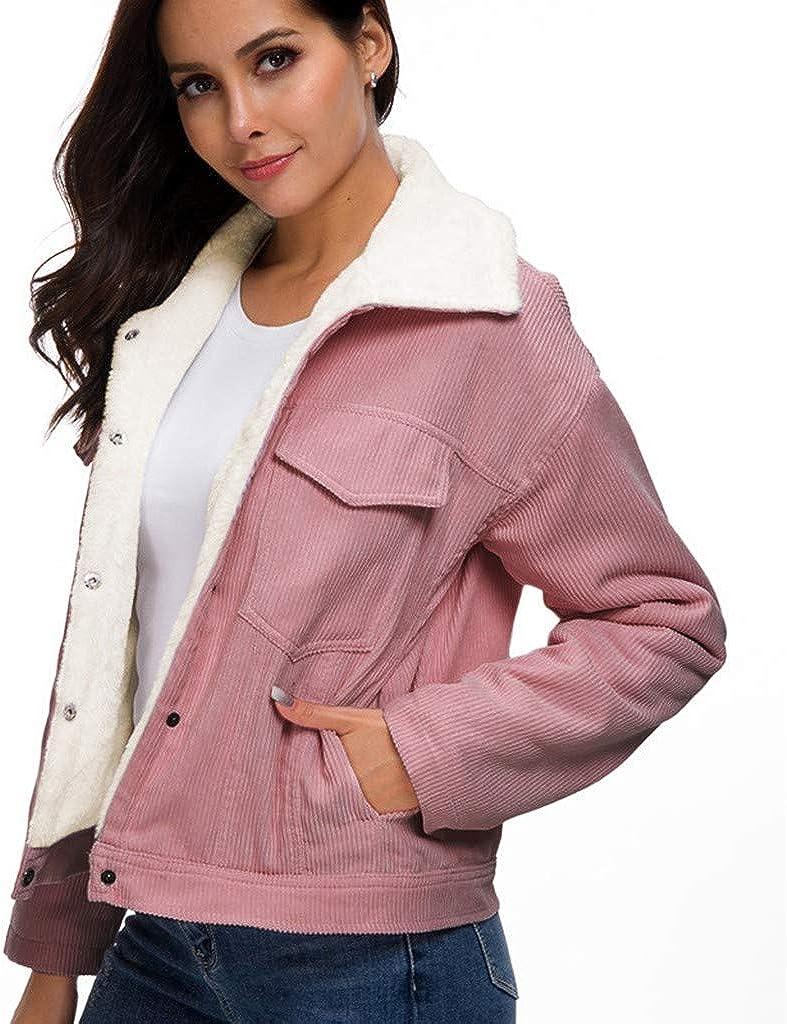 TRENDINAO Winter Women's Corduroy Jackets,Ladies Fashion Spread Collar Warm Lined Cord Thick Fleece Coats Sunmoot