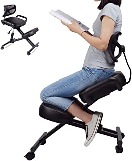 Ergonomic Kneeling Chair with Back Support, Adjustable Stool for Home and Office - Improve Your Posture with an Angled Sea...