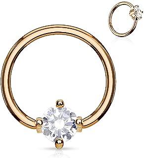 Rose Gold Captive Bead (gem) Ring 316L Surgical Steel (Choose Size)