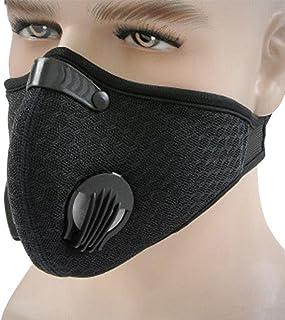 Máscara a prueba de polvo, anticontaminación, de carbón, con válvulas de filtro adicionales, perfecta para gases de escape, alergias, asma, PM 2.5, correr, ciclismo, actividades al aire libre, Negro, 1