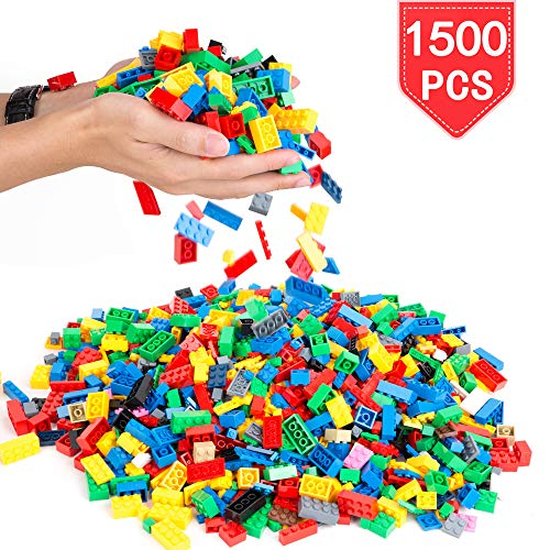 PROLOSO 1500 Piece Building Blocks Bulk 12 Shapes Colorful Educational Mass Pack