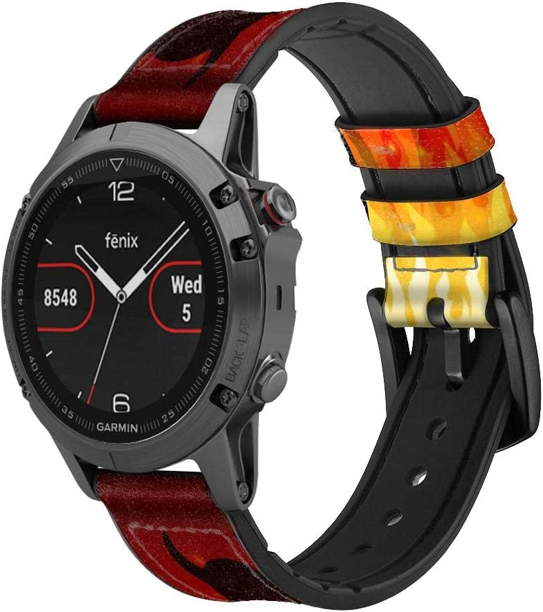 Over item handling ☆ Memphis Mall CA0689 Devil Fire Burn Leather Band Silicone Smart Strap Watch