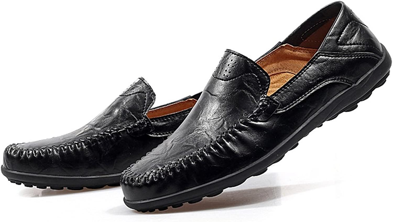 FeiNianJSh Men's Classic Flat Heel shoes Loafer Slip On Slouch Vamp Fashion Business shoes Leisure Casual shoes