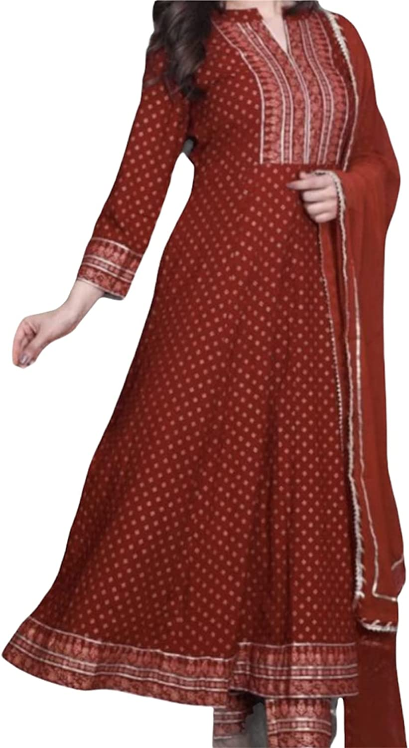 India Ethnics Red Women Anarkali Dress Pure Cotton Flared with Gota lace Fully Stitched