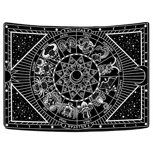 Bateruni Sternbilder Hippie Wandteppiche, Schwarz und Weiß Psychedelisch Mysteriös Nacht Galaxis...