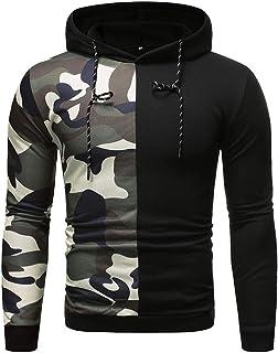 Felpa con Cappuccio da Uomo Pullover Manica Lunga Slim Fit Tasca Camouflage Patchwork Elegante Moda retrò Sweatshirt Autun...