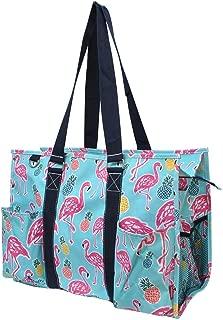 "N. Gil All Purpose Organizer 18"" Large Utility Tote Bag 2 (Tropical Flamingo Navy Blue)"