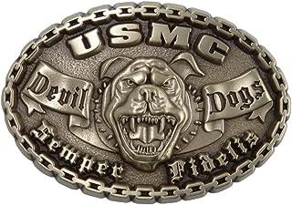 Devil Dog Marine Corps Belt Buckle Solid Brass Made in U.S.A. USMCBB303