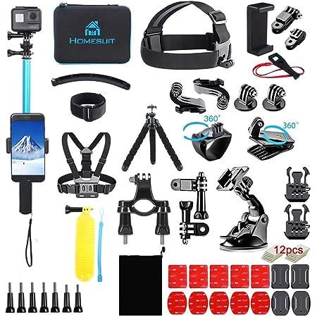 Homesuit 60-In-1アクションカメラ アクセサリーセットfor GoPro Hero 10 9 8 7 6 5カメラ4 3 3 2 1Black, SJ4000 SJ5000 SJ6000 SJ7000, DJI OSMO, DBPOWER, AKASO, Xiaomi,Yi APEMAN アクションカメラ