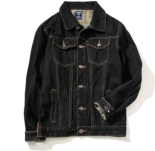 Fjubjv XL mode Les vêteHommests pour Hommes XL Veste en Denim Jeans,noir,m