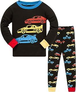 HIKIDS Pijama Niño Invierno-Pijama para Niños-Pijamas de Astronauta Cohete Planeta Excavador Tractor Coche Camión para Niñ...