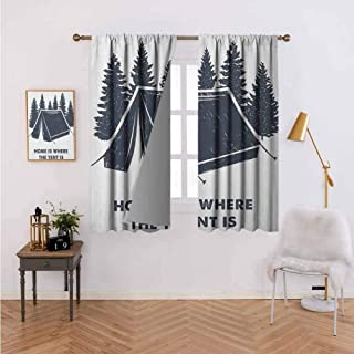 Printed Curtain Home is Where The Tent is Lettering with Pine Trees Camping Travel Theme Dark Blue and White Thermal Insulated Blackout Curtains 72