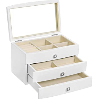 SONGMICS Jewelry Box, 3-Tier Wooden Jewelry Case, Jewelry Organizer with Large Mirror, for Rings, Necklaces, Earrings, Bracelets, White UJOW03W