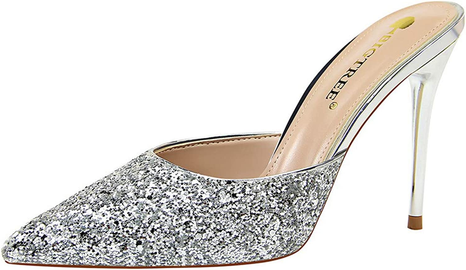 Drew Toby Women Pumps Fashion Stiletto Heels Shallow Mouth Pointed-Toe Sequin Sandals