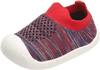 Sherostore ♡ Kids Walking Shoes Boys Girls Color Stripe Breathable Slip on Knit Sock Sneakers