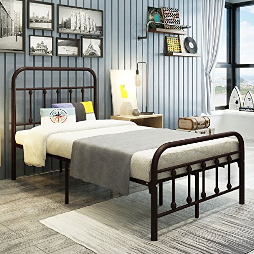 DUMEE Metal Bed Frame Twin Size with Headboard and Footboard Mattress Foundation Box Spring Replacement Steel Slat Support Bronze