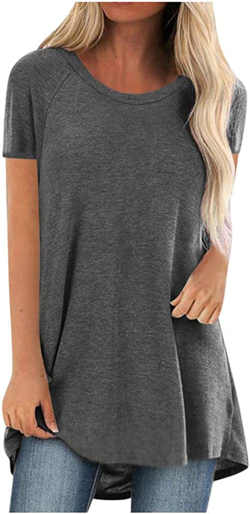 FABIURT Womens T Shirts Short Sleeved Women Cotton Casual Tops Plus Size Round Neck Long Tshirts Blouse Solid Color Tees