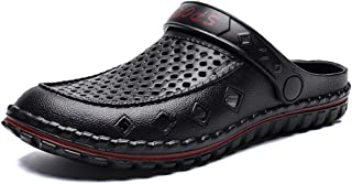 QinMei Zhou Clogs Sandals for Men Water Shoes Slip On Style Plastic Hollow Dual Purpose Pure Colors Fresh and Cool (Color : Black, Size : 8 UK)