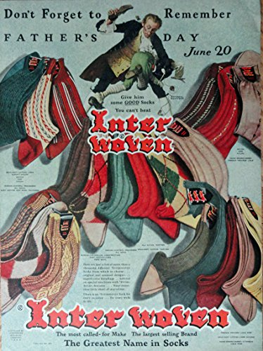 Interwoven Socks, 40's Print Ad. Full Page Color Illustration (Don't forget to remember Father's Day/ Norman Rockwell art, man spanking boy)Original Vintage 1948 Life Magazine Print Art