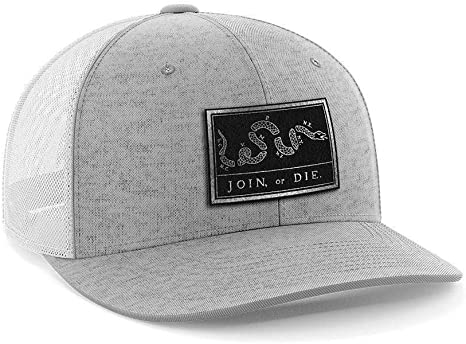 Join Or Die Flag Black Leather Patch Hat