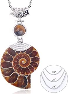 Natural Ammonite Fossil Pendant Necklace Ursula Conch Shell Jewelry for Women Men