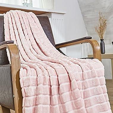 Bertte Ultra Velvet Plush Super Soft Decorative Stripe Throw Blanket-50 x 60 , Pink