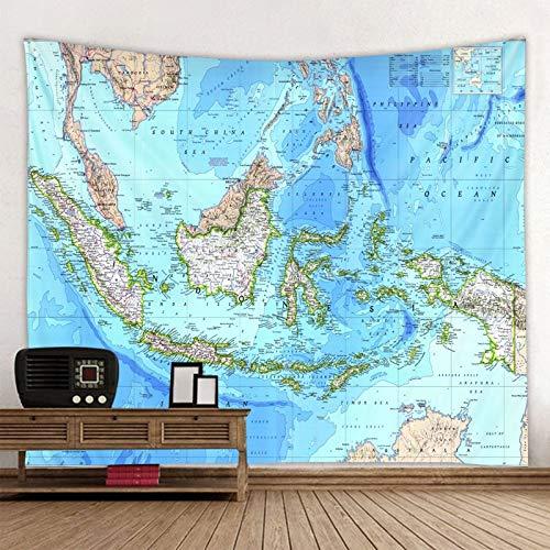 JXWR Mapa del Mundo Tapiz poliéster Tapiz Artista decoración del hogar 150x130cm